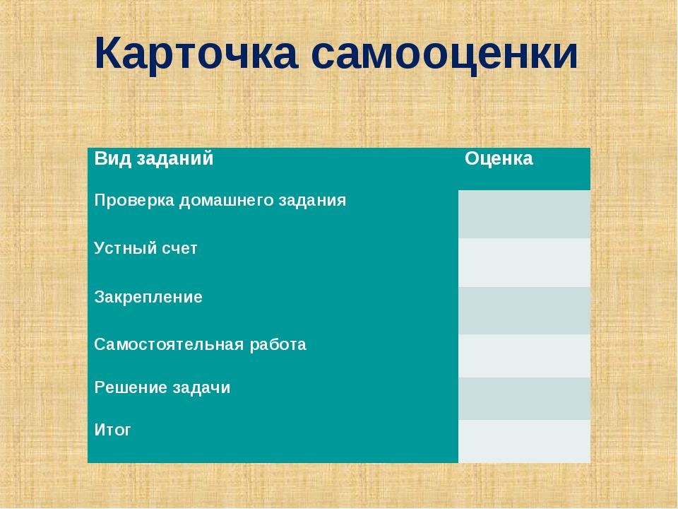 Карточка самооценки Вид заданийОценка Проверка домашнего задания Устный сч...