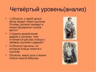 Четвёртый уровень(анализ) 1.Объясни, с какой целью автор вводит образ Цыганка