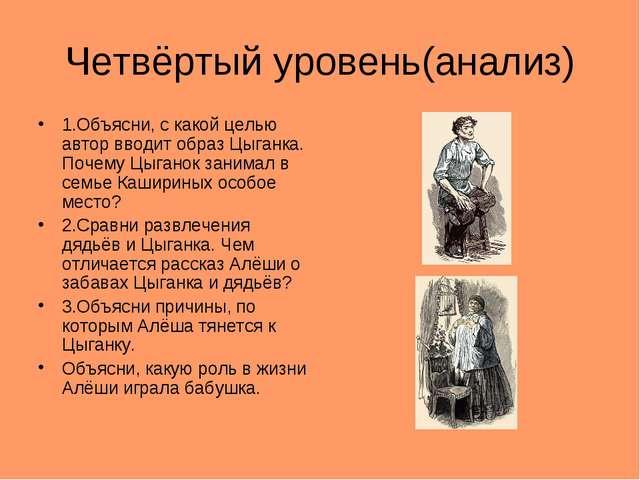 Четвёртый уровень(анализ) 1.Объясни, с какой целью автор вводит образ Цыганка...