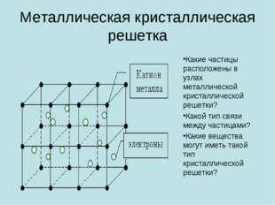 Металлическая кристаллическая решетка Какие частицы расположены в узлах мета