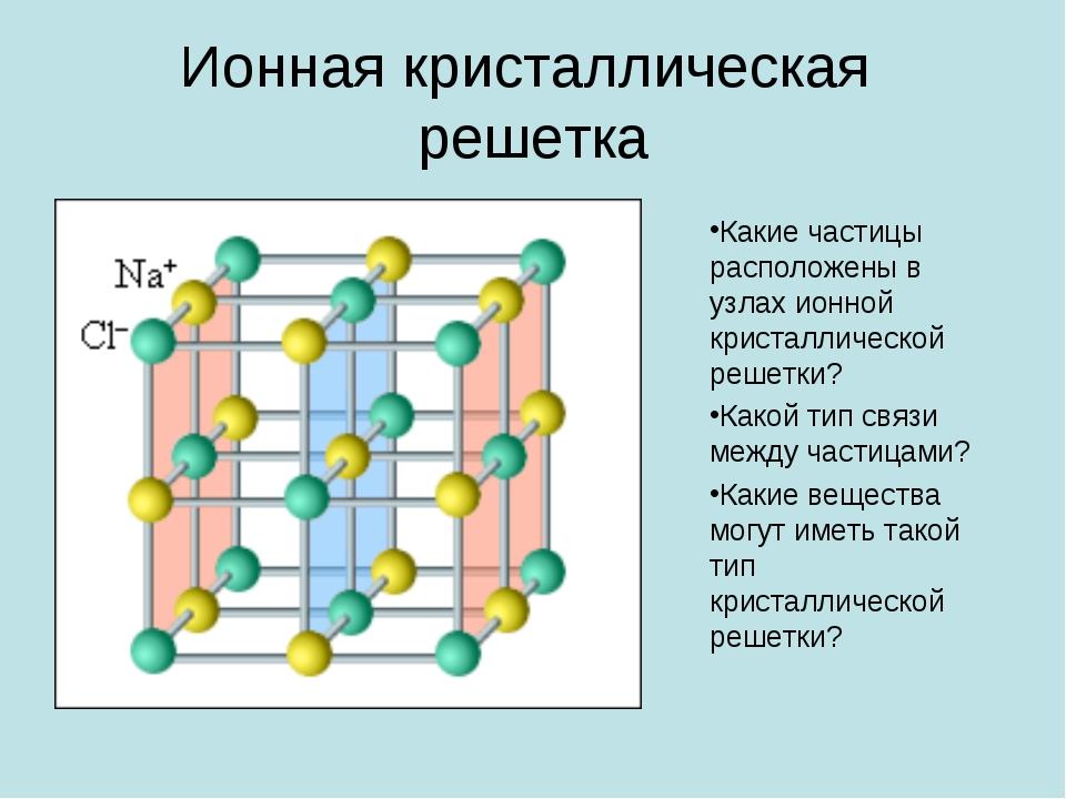 Ионная кристаллическая решетка Какие частицы расположены в узлах ионной крист...