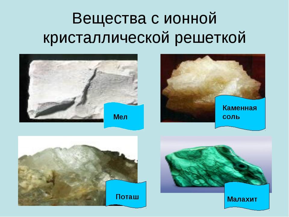 Вещества с ионной кристаллической решеткой Мел Каменная соль Малахит Поташ