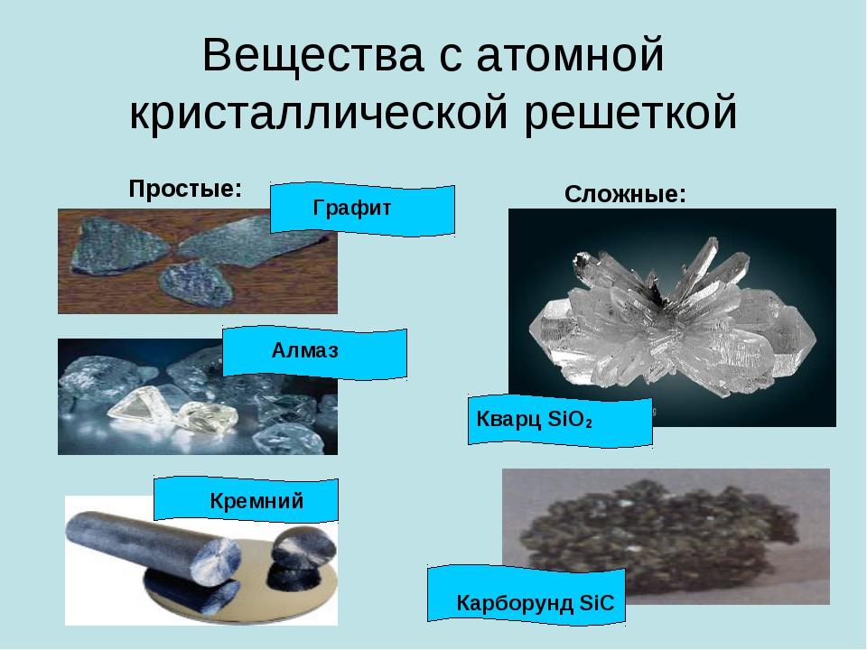 Вещества с атомной кристаллической решеткой Простые: Сложные: Графит Алмаз Кр...