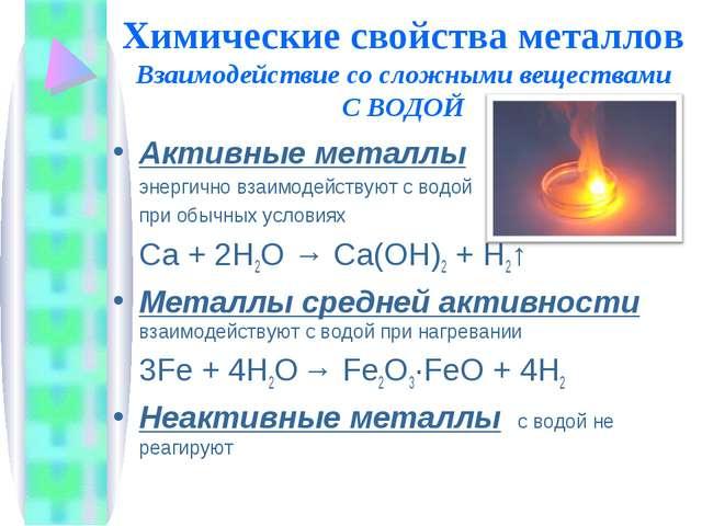 Химические свойства металлов Взаимодействие со сложными веществами С ВОДОЙ Ак...