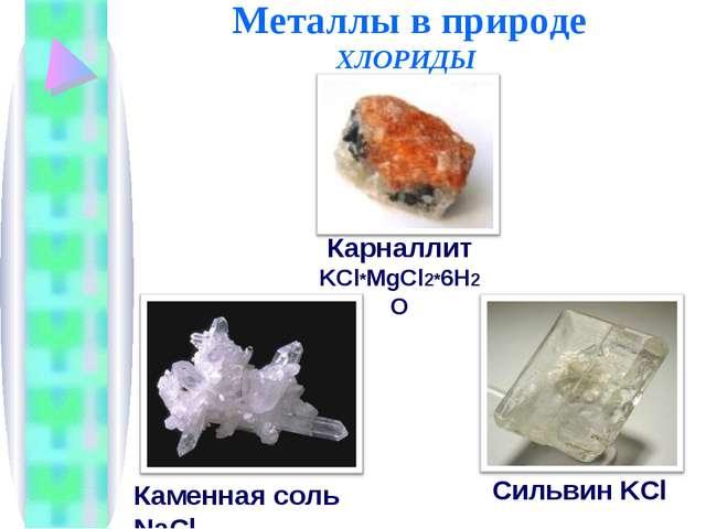 Металлы в природе ХЛОРИДЫ Каменная соль NaCl Карналлит KCl*MgCl2*6H2O Сильви...