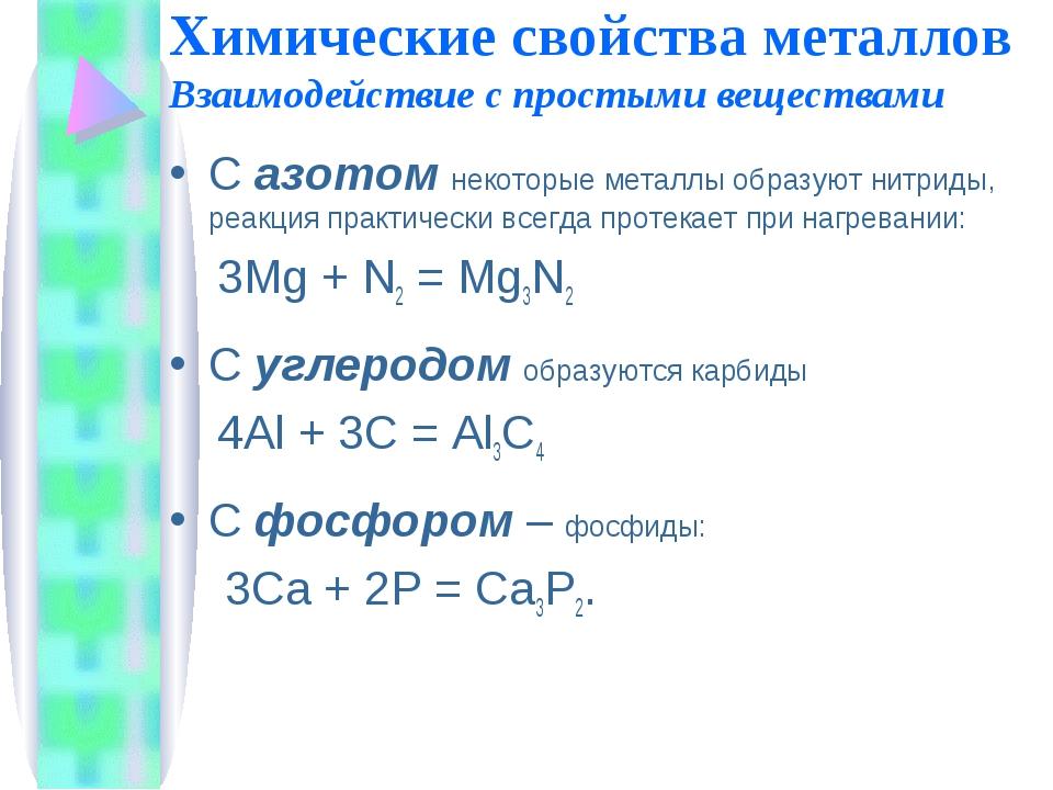 Химические свойства металлов Взаимодействие с простыми веществами Сазотомне...