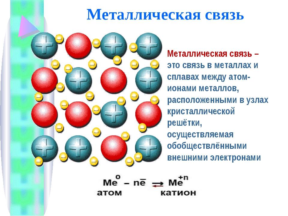 Металлическая связь Металлическая связь – это связь в металлах и сплавах межд...