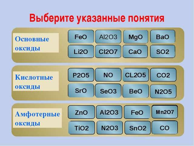 Выберите указанные понятия Основные оксиды Кислотные оксиды Амфотерные оксиды...