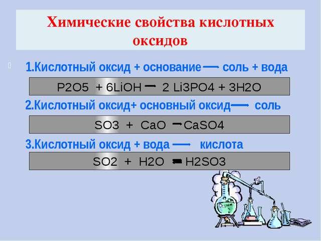 Химические свойства кислотных оксидов 1.Кислотный оксид + основание соль + во...