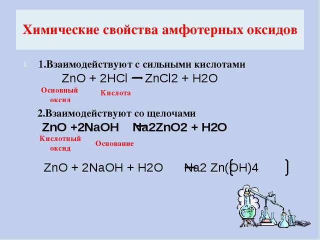 Химические свойства амфотерных оксидов 1.Взаимодействуют с сильными кислотами...