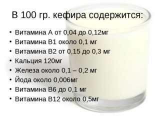 В 100 гр. кефира содержится: Витамина А от 0,04 до 0,12мг Витамина В1 около 0