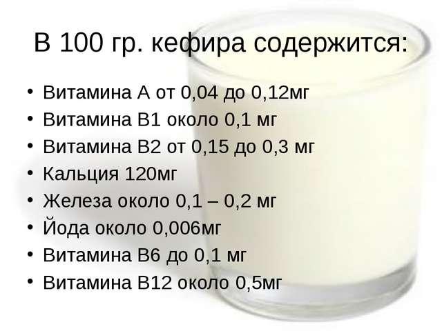 В 100 гр. кефира содержится: Витамина А от 0,04 до 0,12мг Витамина В1 около 0...