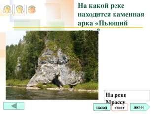 ответ далее На какой реке находится каменная арка «Пьющий слон»? На реке Мрас