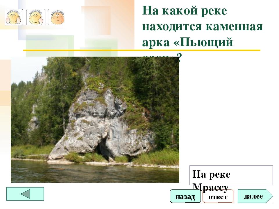 ответ далее На какой реке находится каменная арка «Пьющий слон»? На реке Мрас...