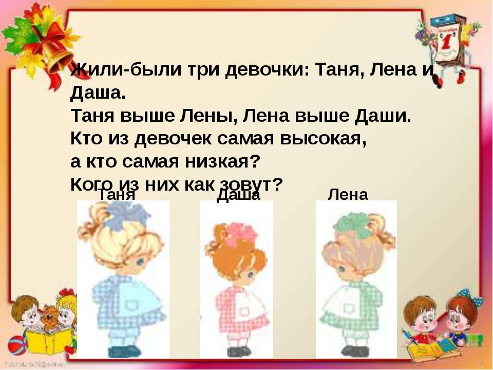 Жили-были три девочки: Таня, Лена и Даша. Таня выше Лены, Лена выше Даши. Кто...