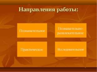 Направления работы: Исследовательское Познавательно-развлекательное Познавате
