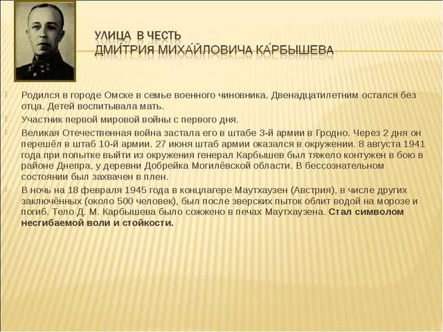 Родился в городе Омске в семье военного чиновника. Двенадцатилетним остался...