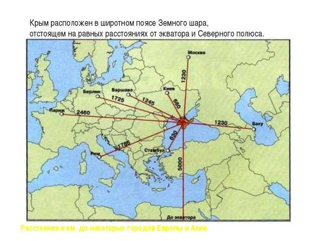 Крым расположен в широтном поясе Земного шара, отстоящем на равных расстояни...