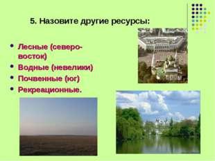 5. Назовите другие ресурсы: Лесные (северо-восток) Водные (невелики) Почвенны
