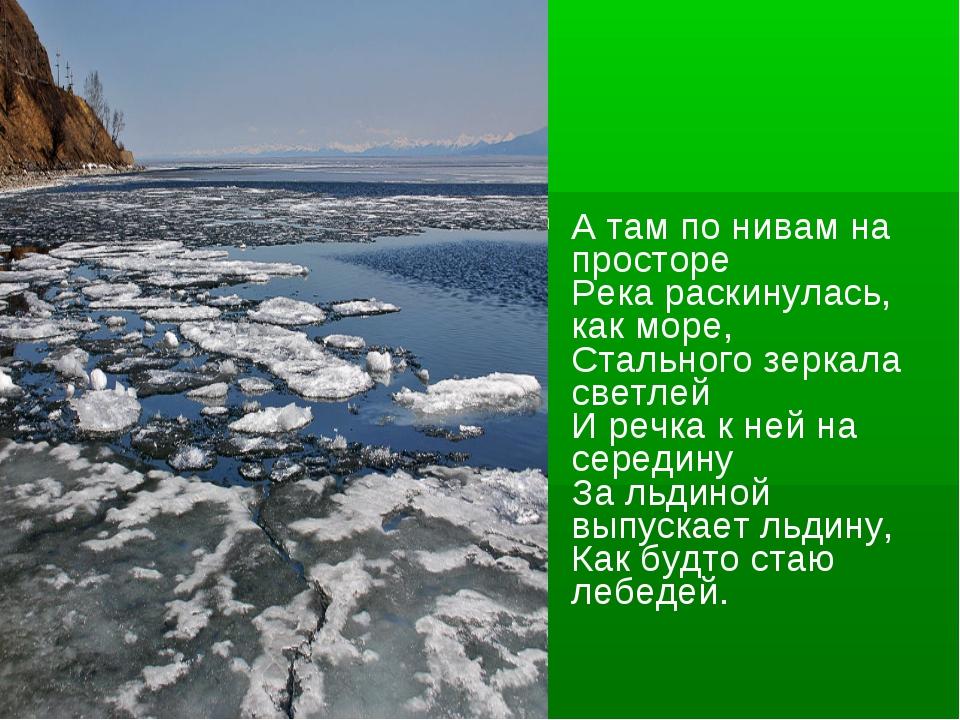 А там по нивам на просторе Река раскинулась, как море, Стального зеркала св...