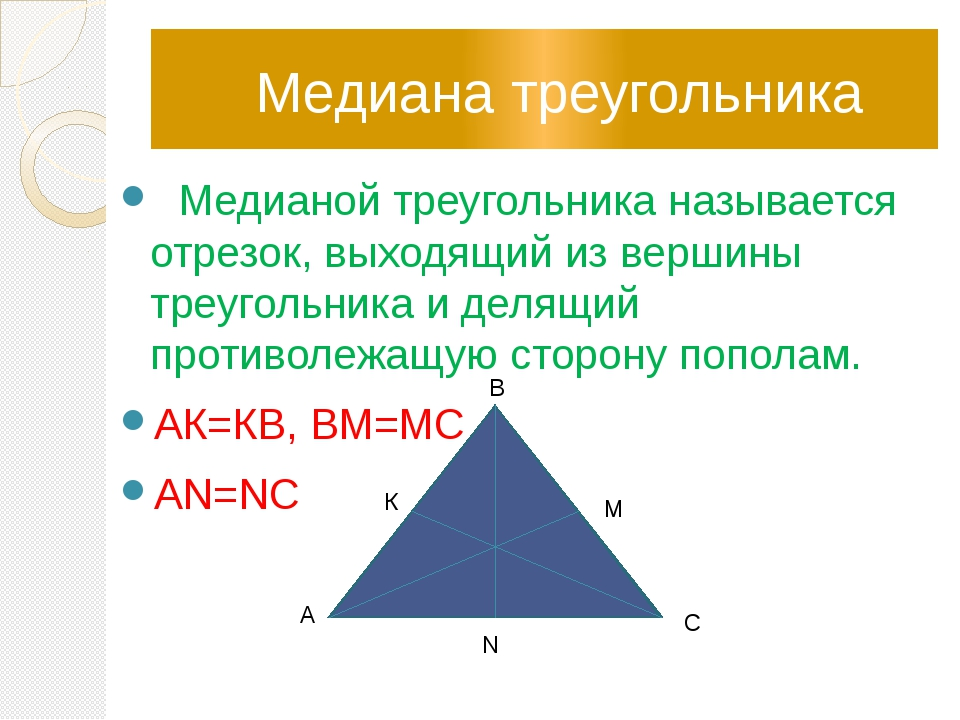 Медиана треугольника Медианой треугольника называется отрезок, выходящий из...