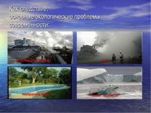 Как следствие, основные экологические проблемы современности: парниковый эффе