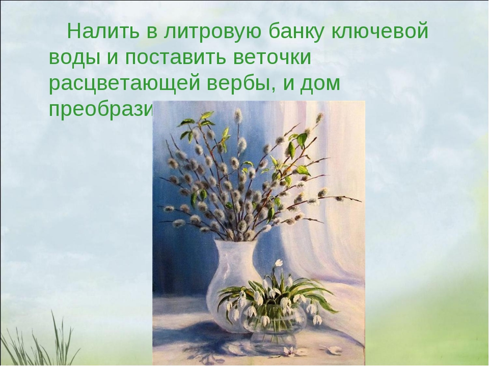 Налить в литровую банку ключевой воды и поставить веточки расцветающей вербы...