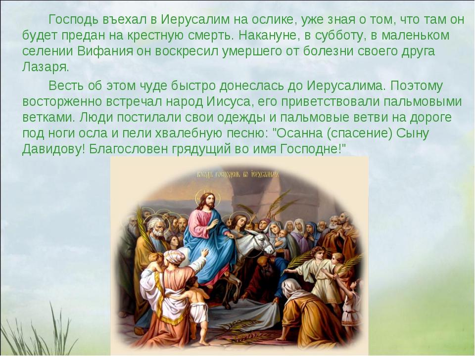 Господь въехал в Иерусалим на ослике, уже зная о том, что там он будет преда...
