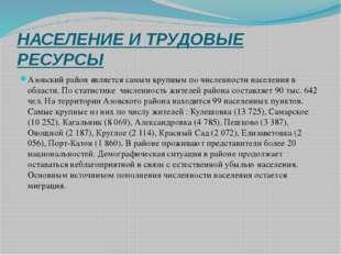 НАСЕЛЕНИЕ И ТРУДОВЫЕ РЕСУРСЫ Азовский район является самым крупным по численн
