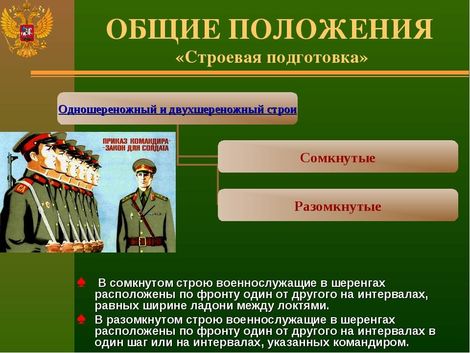 ОБЩИЕ ПОЛОЖЕНИЯ «Строевая подготовка» В сомкнутом строю военнослужащие в шере...