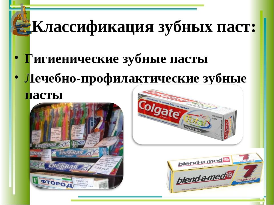 Классификация зубных паст: Гигиенические зубные пасты Лечебно-профилактиче...