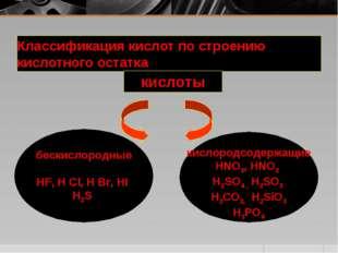 Классификация кислот по строению кислотного остатка кислоты бескислородные HF