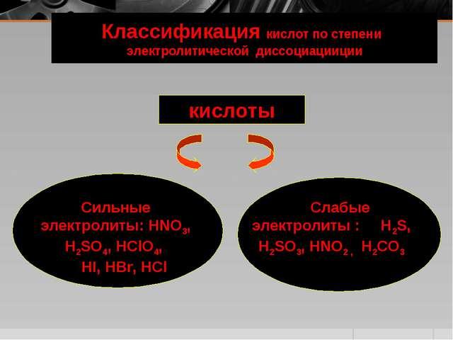 Классификация кислот по степени электролитической диссоциацииции кислоты Силь...