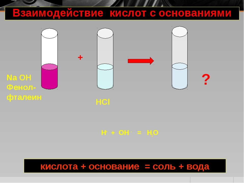 Н+ + OH - = H2O Na OH Фенол- фталеин HCl + ? Взаимодействие кислот с основани...