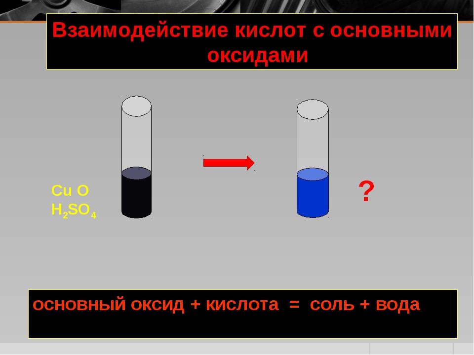основный оксид + кислота = соль + вода Взаимодействие кислот с основными окси...