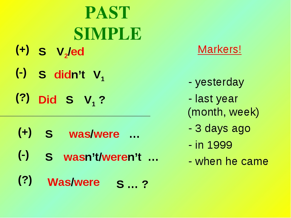 PAST SIMPLE Markers! - yesterday - last year (month, week) - 3 days ago - in...