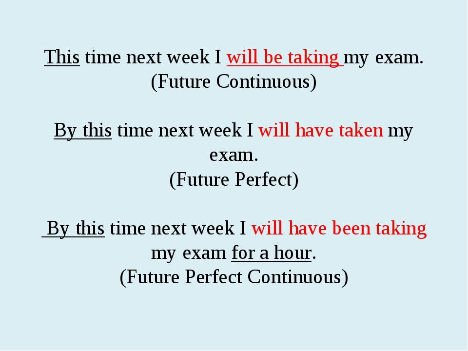 This time next week I will be taking my exam. (Future Continuous) By this tim...