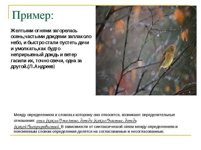 Пример: Желтыми огнями загорелась осень,частыми дождями заплаколо небо, и быс...