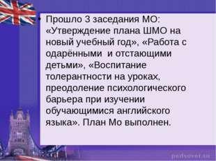 Прошло 3 заседания МО: «Утверждение плана ШМО на новый учебный год», «Работа