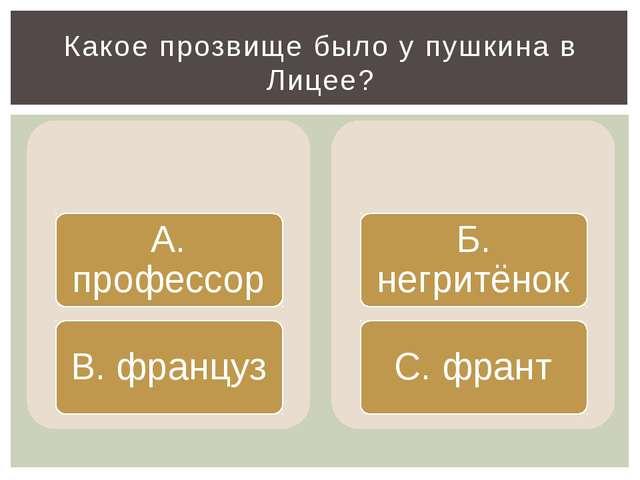 Какое прозвище было у пушкина в Лицее?