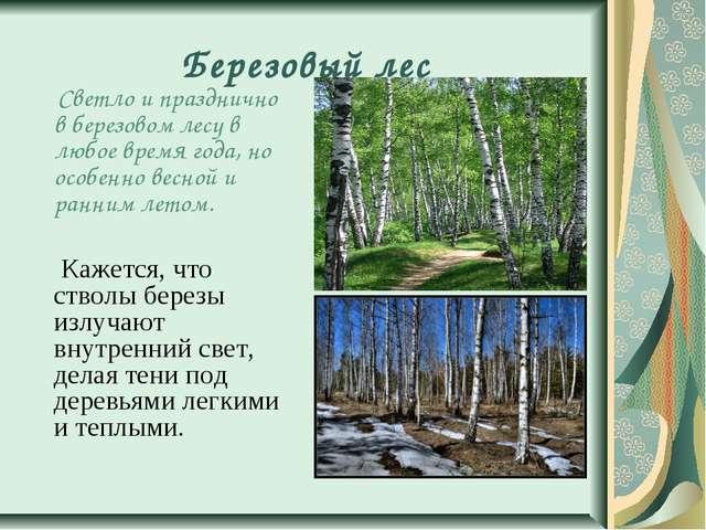 Березовый лес Светло и празднично в березовом лесу в любое время года, но осо...