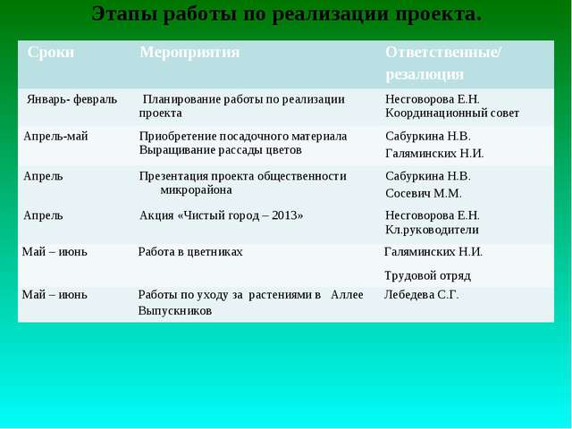 Этапы работы по реализации проекта.