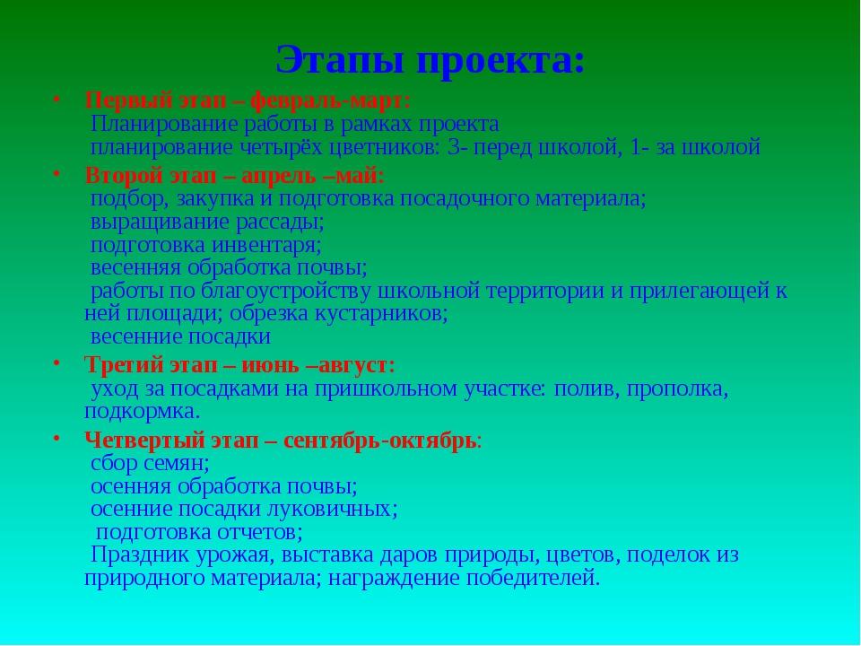 Этапы проекта: Первый этап – февраль-март: Планирование работы в рамках проек...