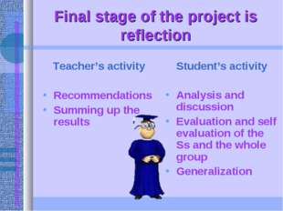 Final stage of the project is reflection Teacher's activity Recommendations S