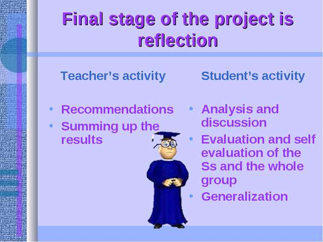 Final stage of the project is reflection Teacher's activity Recommendations S...