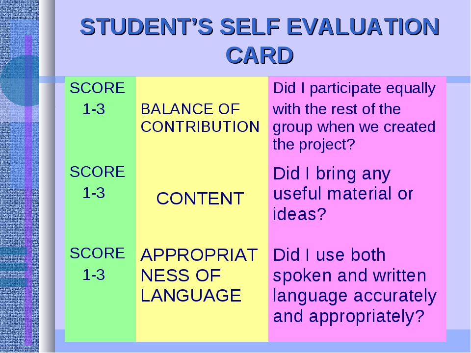 STUDENT'S SELF EVALUATION CARD SCORE 1-3	 BALANCE OF CONTRIBUTION	Did I parti...