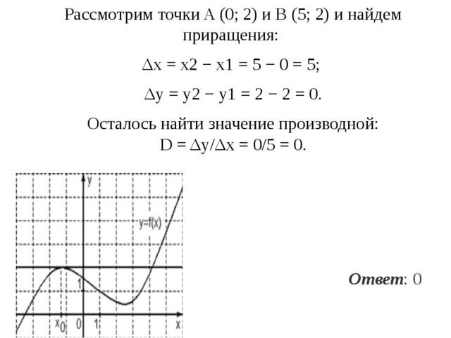 Рассмотрим точки A(0;2) иB(5;2) инайдем приращения: Δx=x2−x1= 5−...