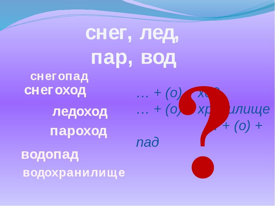 … + (о) + ход … + (о) + хранилище … + (о) + пад снег, лед, пар, вод водохрани...
