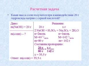 Расчетная задача Какая масса соли получится при взаимодействии 20 г гидроксид