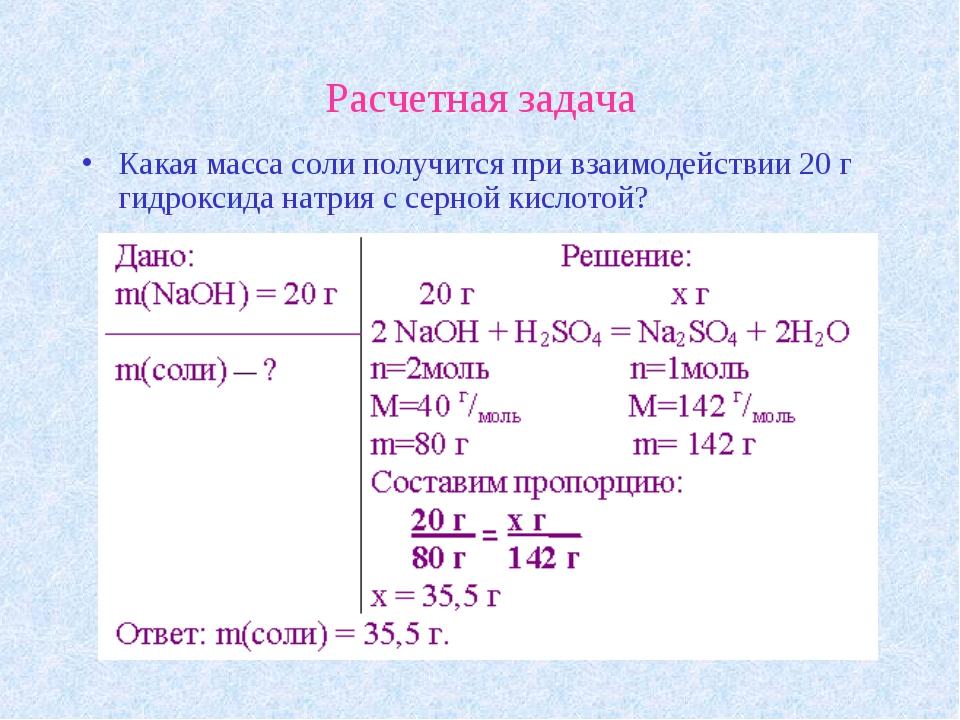 Расчетная задача Какая масса соли получится при взаимодействии 20 г гидроксид...